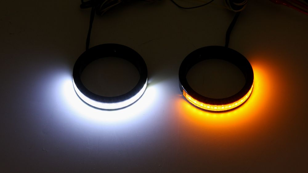 motorcycle fork wrap around LED turn signals