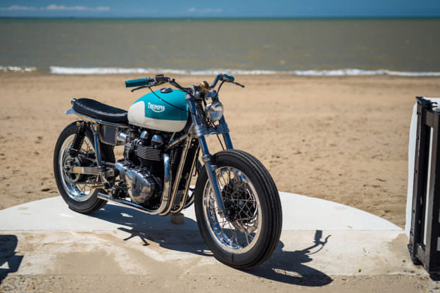 California Dreaming: A brat style Triumph Bonneville by FCR Original.
